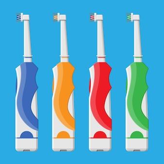 Elektryczna szczoteczka do zębów w różnych kolorach.