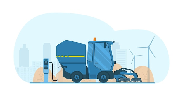 Elektryczna zamiatarka z odkurzaczem mini ciężarówka ze szczotkami. ilustracja wektorowa.