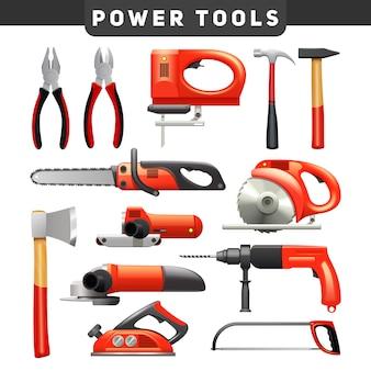 Elektryczne i mechaniczne narzędzia pracy pracownika cieśli płaskie piktogramy w kolorze czerwonym i czarnym