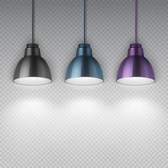 Elektryczne lampy sufitowe wiszące w stylu vintage. biurowe retro żyrandole na białym tle ilustracji wektorowych. wewnętrzny sufit lampy elektrycznej, oświetla dom