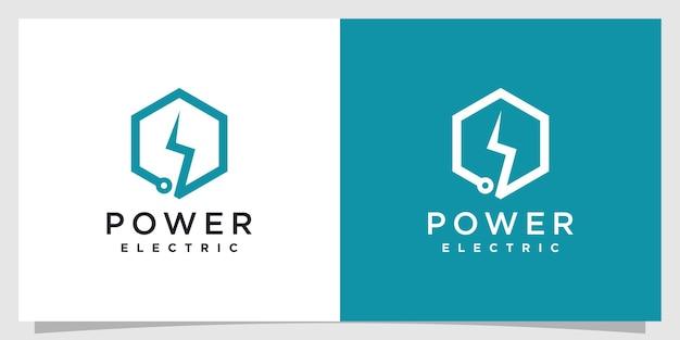 Elektryczne logo z kreatywną prostą i minimalistyczną koncepcją premium wektorów część 2