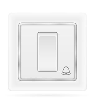 Elektryczny dzwonek przełącznika do wewnętrznego okablowania elektrycznego na białym tle
