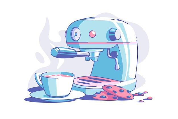 Elektryczny ekspres do kawy wektor ilustracja kubek gorącej aromatycznej kawy i ciastka płaski dzień dobry i koncepcja śniadanie na białym tle