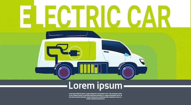 Elektryczny samochód na stacji ładującej ekologiczny pojazd w mieście