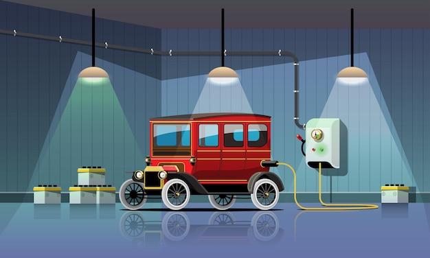 Elektryczny samochód retro ładuje się w garażowej elektrowni, płaska konstrukcja ilustracji wektorowych