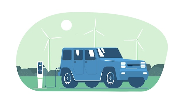 Elektryczny samochód suv na tle abstrakcyjnego krajobrazu i turbin wiatrowych.