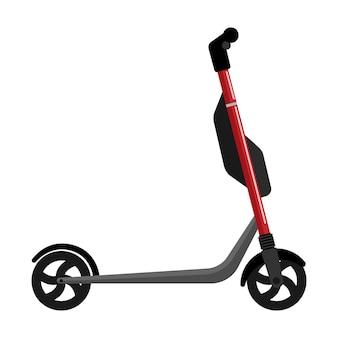 Elektryczny skuter czerwony na białym tle. skuter elektryczny w stylu płaski. ekologiczny transport dla miejskiego stylu życia. ilustracja wektorowa