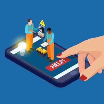 Elektryk aplikacja mobilna usługi izometryczny wektor koncepcji