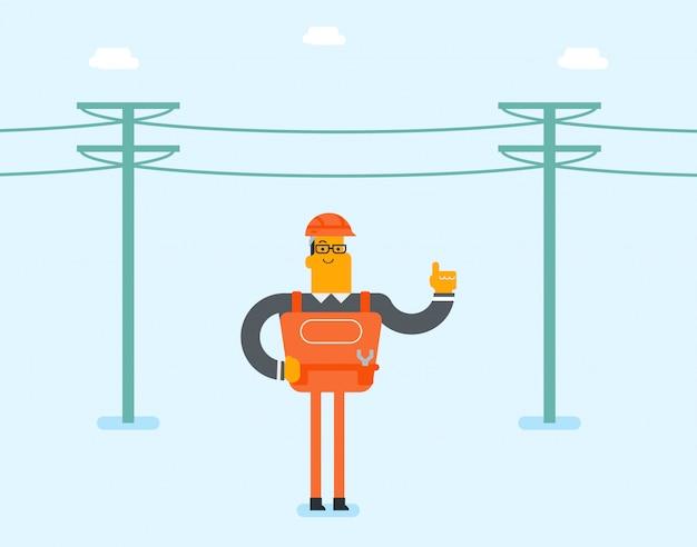 Elektryk naprawia słup elektryczny.