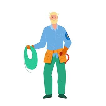 Elektryk trzymać przewód elektryczny i narzędzie wektor. elektryk człowiek gospodarstwa przewodu elektrycznego i profesjonalny sprzęt. postać naprawa elektryczności pracownik usługi płaskie ilustracja kreskówka