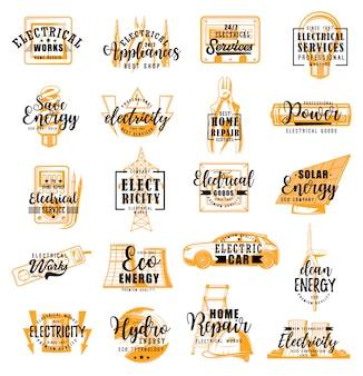 Elektryk, usługi elektryczne napis ikony