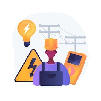 Elektryk usługi streszczenie ilustracja koncepcja. energooszczędne oświetlenie, konserwacja i przegląd instalacji elektrycznych, automatyka domowa, naprawa nagrzewnic elektrycznych