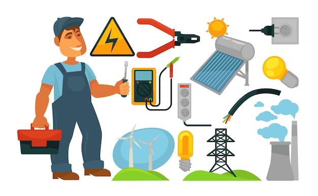 Elektryka zawodu infographics plakata szablon.
