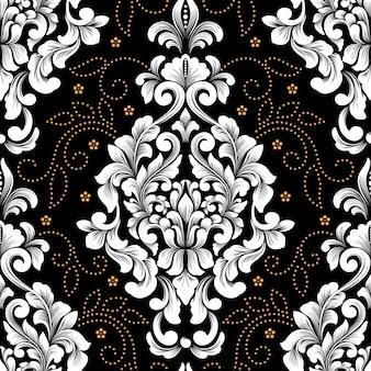 Element adamaszku wektor wzór. klasyczny luksusowy staromodny ornament adamaszku, królewska wiktoriańska bezszwowa tekstura do tapet, tekstyliów, zawijania. wykwintny kwiatowy barokowy szablon.