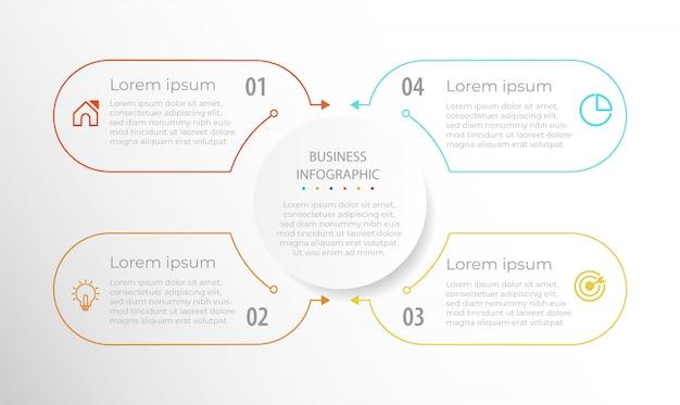 Element biznesowy plansza linia cztery kroki