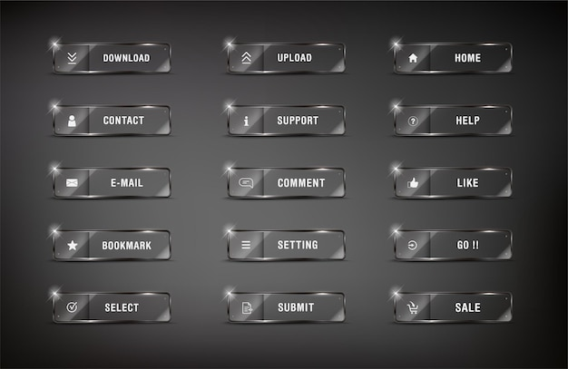 Element buttonweb zestaw błyszczący kwadratowy ikona www