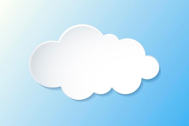 Element chmury 3d, ładny wektor clipart pogody na gradientowym niebieskim tle