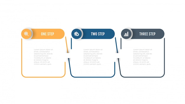 Element cienka linia biznes z etykietą koło, wektor z opcjami, kroki.