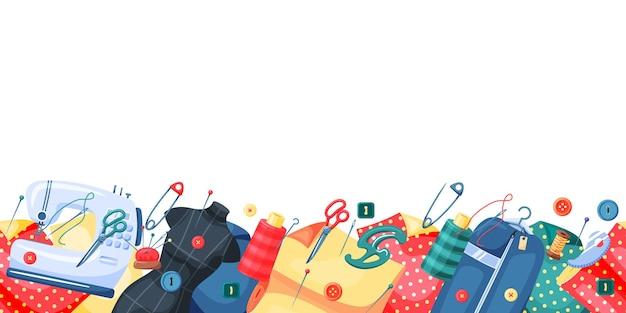 Element do szycia i baner sprzętu krawieckiego z miejscem na kopię. akcesoria do robótek ręcznych do szablonu granicy ręcznie robione i krawieckie z pustym miejscem na tekst wektor ilustracja na białym tle