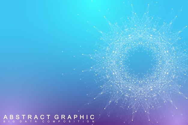 Element fraktalny z połączonymi liniami i kropkami. kompleks dużych zbiorów danych. komunikacja w tle wirtualnym lub związki cząstek. cyfrowa wizualizacja danych, minimalna tablica. splot linii.