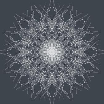 Element fraktalny z połączonymi liniami i kropkami. wirtualna komunikacja w tle lub związki cząstek. koncentryczne koło w stylu minimalistycznym. wizualizacja danych cyfrowych. splot linii. ilustracja wektorowa