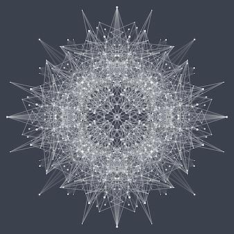 Element fraktalny ze złożonymi liniami i kropkami. kompleks dużych zbiorów danych. graficzne abstrakcyjne tło komunikacji. minimalna tablica. wizualizacja danych cyfrowych. ilustracja wektorowa dynamicznego ruchu.