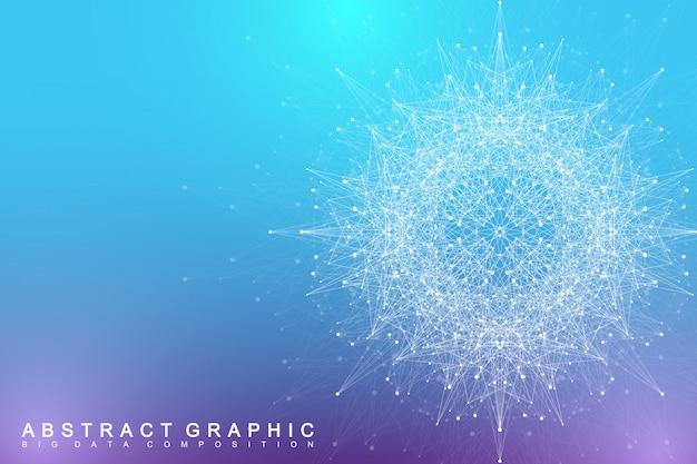 Element fraktalny ze złożonymi liniami i kropkami. kompleks dużych zbiorów danych. komunikacja graficzna streszczenie tło. minimalna tablica duże dane. cyfrowa wizualizacja danych. ilustracja.