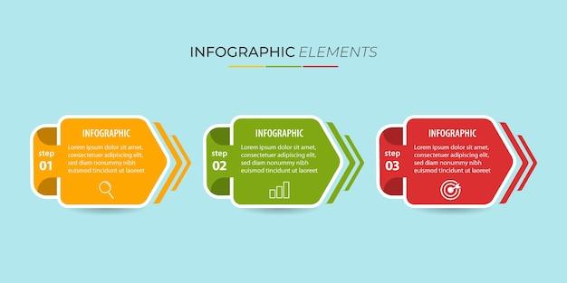 Element graficzny informacji biznesowych z opcjami, krokami, projektem szablonu numeru