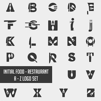 Element ikona kolekcja logo szefa kuchni żywności alfabetu