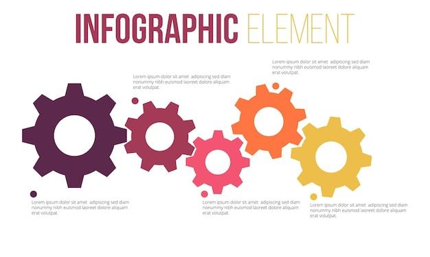 Element infografiki informacji o ikonach kół zębatych