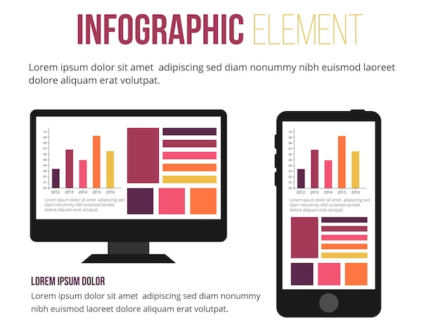 Element infografiki informacji o komputerze i telefonie komórkowym