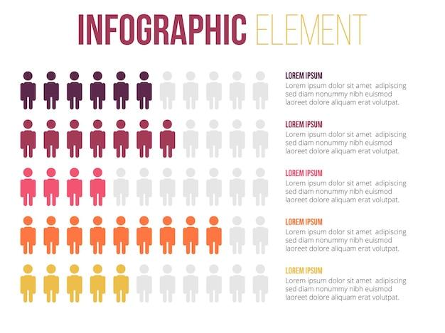 Element infografiki informacji o wykresie liczby mężczyzn
