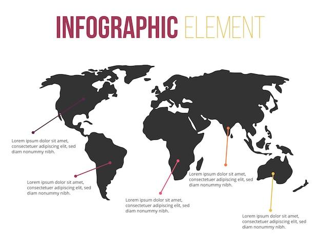 Element infografiki informacyjnej mapy świata
