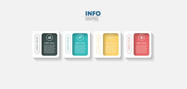 Element infografiki z 4 opcjami lub krokami. może być stosowany do przetwarzania, prezentacji, schematu, układu przepływu pracy, wykresu informacji, projektowania stron internetowych.