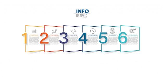 Element infografiki z 6 opcjami lub krokami. może być stosowany do przetwarzania, prezentacji, schematu, układu przepływu pracy, wykresu informacji, projektowania stron internetowych.