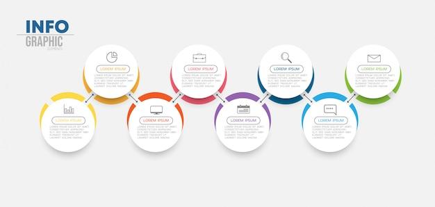Element infografiki z 8 opcjami lub krokami. może być stosowany do przetwarzania, prezentacji, schematu, układu przepływu pracy, wykresu informacji, projektowania stron internetowych.