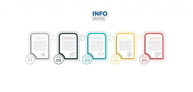 Element infographic z 5 opcjami lub krokami. może być stosowany do przetwarzania, prezentacji, schematu, układu przepływu pracy, wykresu informacji, projektowania stron internetowych.