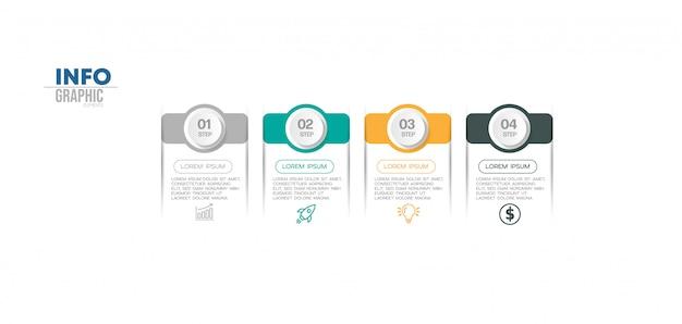 Element infographic z ikonami i 4 opcjami lub krokami. może być używany do przetwarzania, prezentacji, schematu, układu przepływu pracy, wykresu informacji, projektowania stron internetowych.