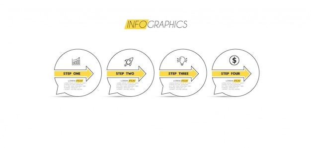 Element infographic z ikonami i 4 opcjami lub krokami