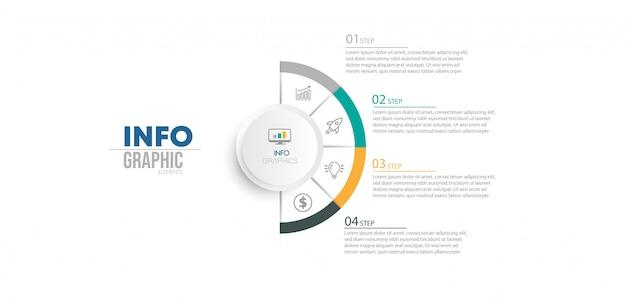 Element infographic z ikonami i 4 opcjami lub krokami.