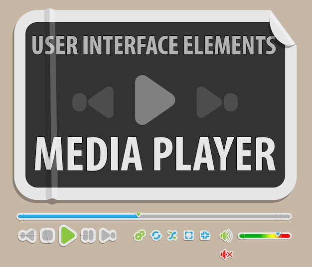 Element interfejsu użytkownika odtwarzacza multimedialnego w stylu papieru