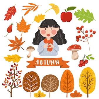 Element jesień na białym tle