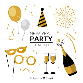 Element kolekcja party piękny nowy rok z płaskiej konstrukcji