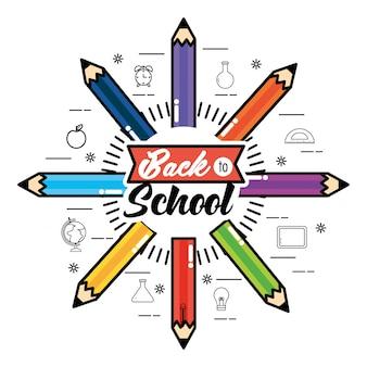 Element kolorów ołówki do tyłu szkoły