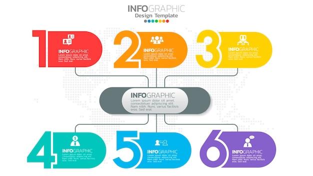 Element koloru kroku infografiki z diagramem kołowym, wykres biznesowy.