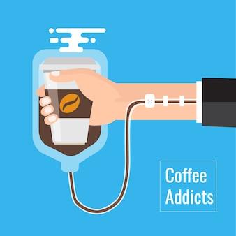 Element koncepcji uzależnienia od kawy. sztuki wektorowe
