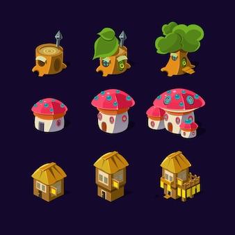 Element kreskówka z bajkowymi domami gry