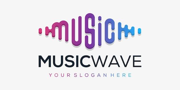 Element odtwarzacza muzyki. szablon logo muzyka elektroniczna, korektor graficzny, sklep, dj, klub nocny, dyskoteka. koncepcja logo fali dźwiękowej,
