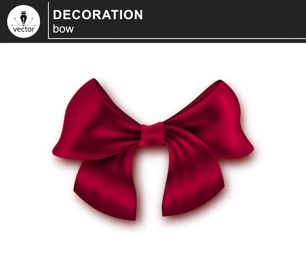 Element ozdobny elegancki elegancki czerwony łuk na białym tle