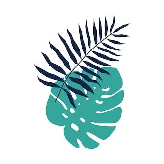 Element plakatu sylwetka egzotycznych liści palmowych.